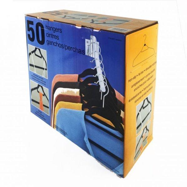 画像1: ノンスリップハンガー 50本セット(ブラック) キャミソール用溝/ネクタイバー付