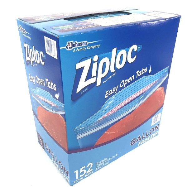 画像1: Ziploc ジップロック ダブルジッパー 冷凍用 ガロン大箱 152枚