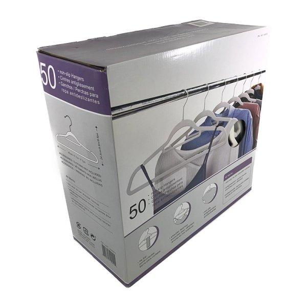 画像1: ノンスリップハンガー 50本セット(ホワイト) キャミソール用溝/ネクタイバー付