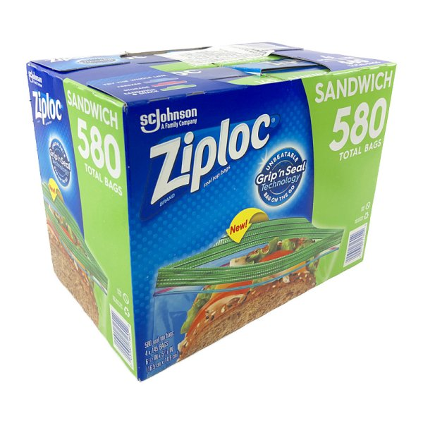 画像1: ジップロック サンドイッチバッグ 580枚 (145枚×4) Ziploc Sandwich Bags