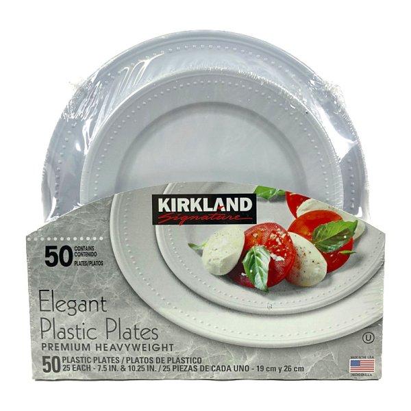 画像1: カークランド エレガント プラスティック プレーツ 50枚セット (19cm×25枚、26cm×25枚) KS Elegant Plastic Plates