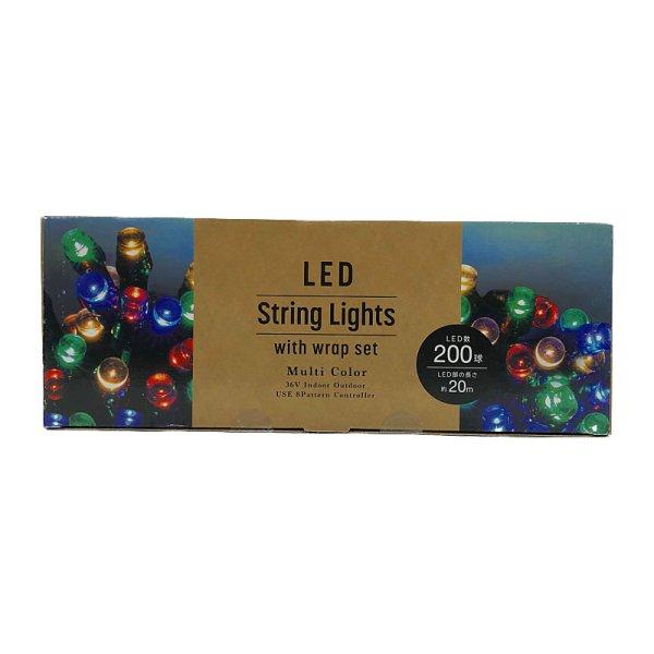 画像2: LED イルミネーション ストレート (マルチカラー) 200球 屋内外用 ケーブル収納ラップ付 200 LED String Wrap Set